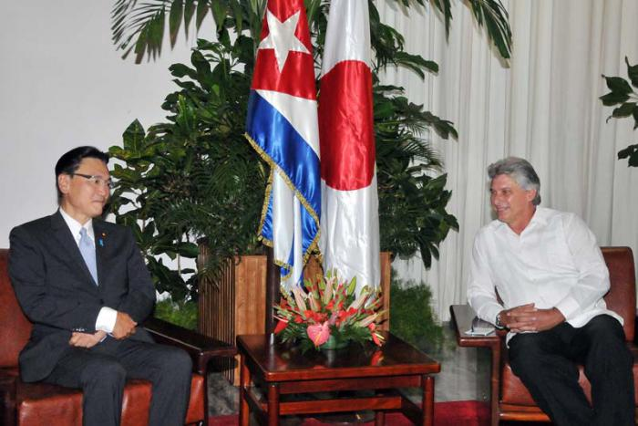 Diaz-Canel Meets with Visiting Japanese Parliamentarian