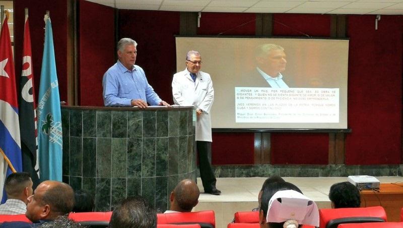 Visita presidente cubano Complejo Científico Ortopédico Frank País