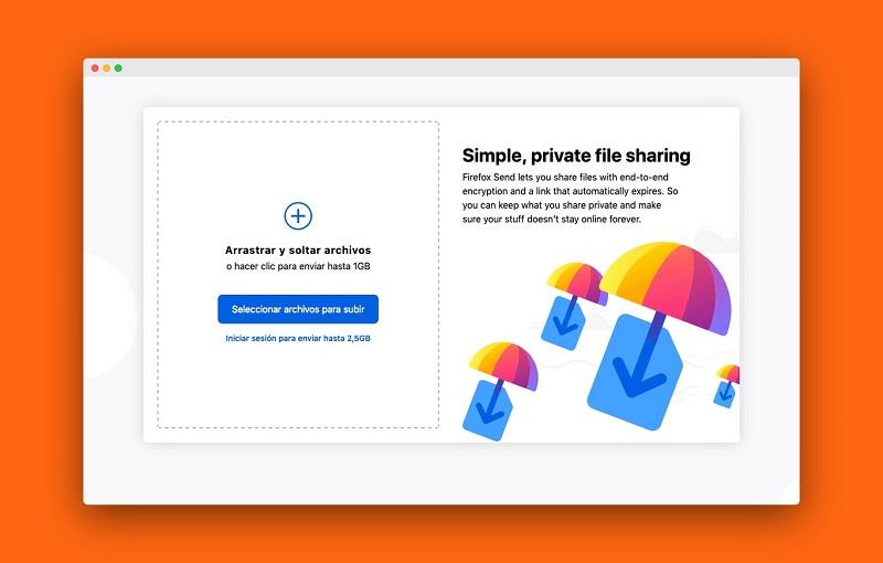Firefox Send te permite enviar archivos cifrados de 2,5GB