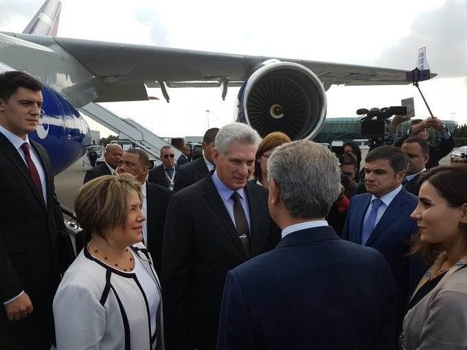 Cuban president arrives in Azerbaijan for NAM Summit
