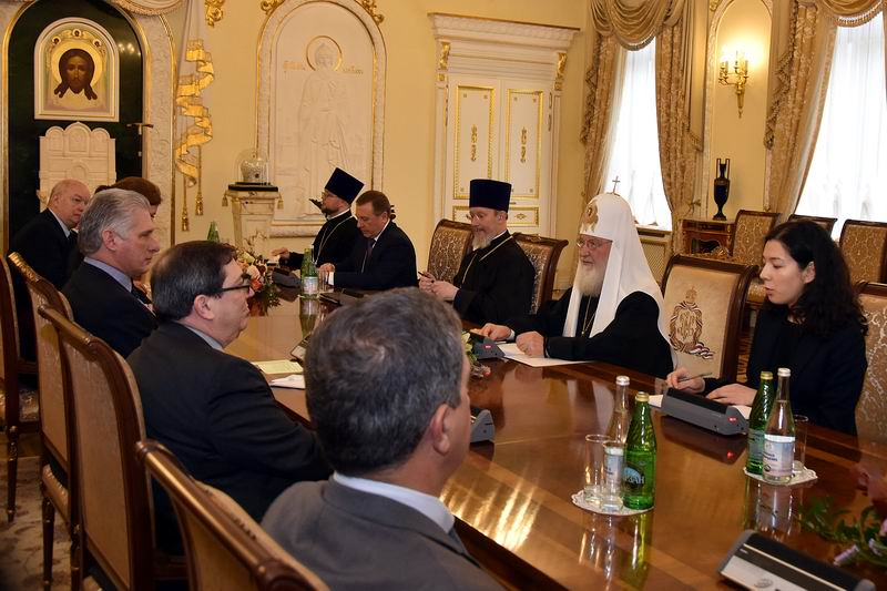 Recibe Patriarca de la Iglesia Ortodoxa Rusa a Díaz-Canel