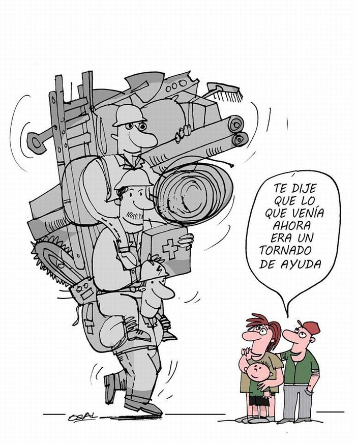 Ayuda tornado. Caricaturas: Osvaldo Gutiérrez Gómez
