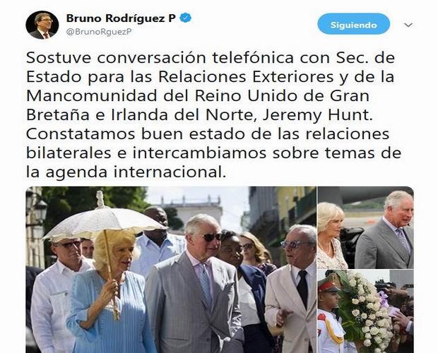 Ratifican Cancilleres de Cuba y Reino Unido buen estado de relaciones