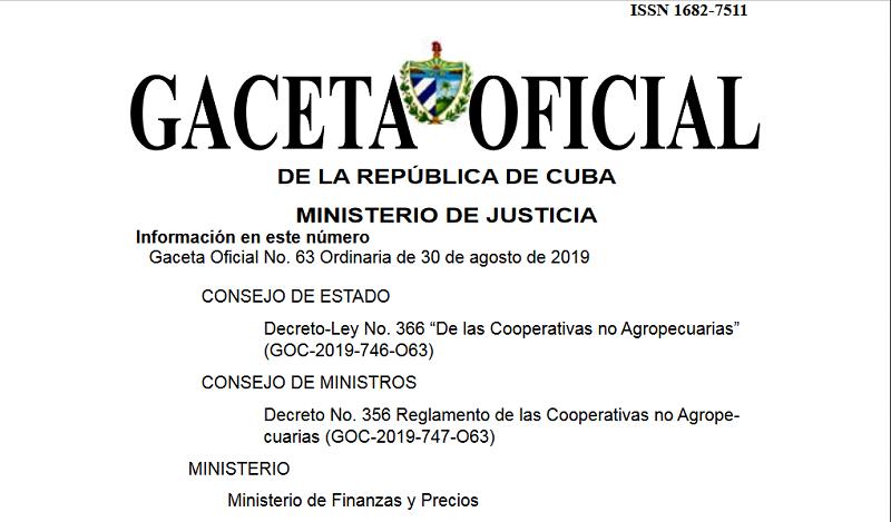 Publican nuevas normas jurídicas sobre cooperativas no agropecuarias