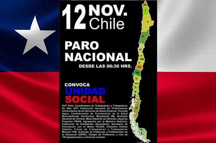 Amanece Chile paralizado por una huelga general