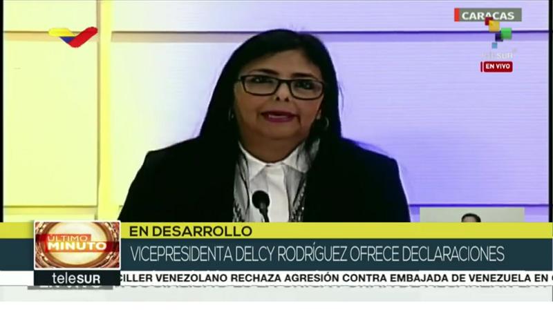 Delcy Rodriguez ofrece declaraciones