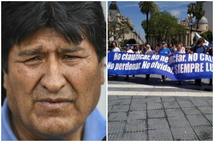 Evo Morales este jueves en la marcha de las Madres de la Plaza de Mayo