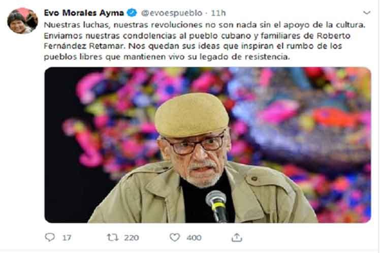 Bolivian President Extolls Cuban Intellectual Legacy