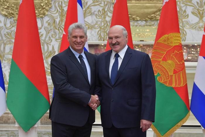 Los presidentes de Cuba, Miguel Díaz-Canel Bermúdez y de la República de Belarús, Alexander Lukashenko