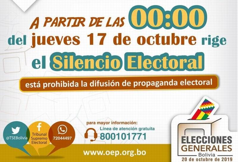 En Bolivia, silencio electoral por los comicios presidenciales del 20 de octubre