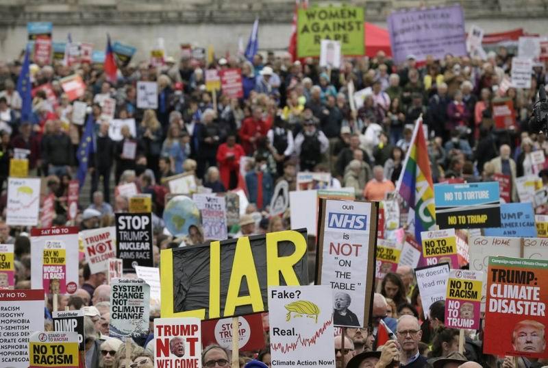 En fotos: Protestas en Londres por visita de Trump