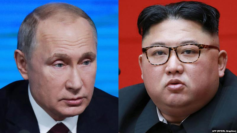 Russian Presidente Vladimir Putin and top leader of the Democratic Peopley´s Republic of Korea, Kim Jong-un