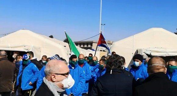 Cuban medical brigade opens field hospital in Italy