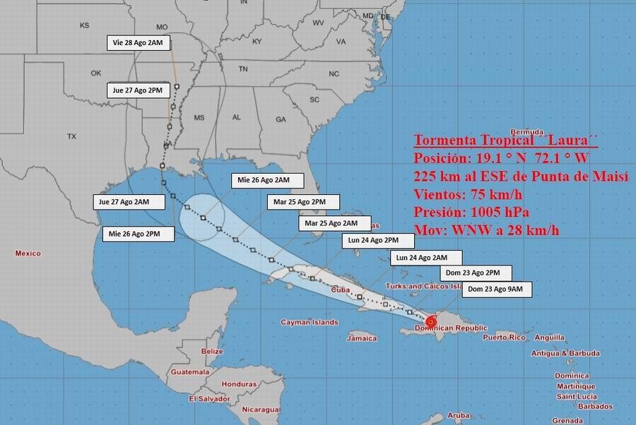 Tormenta tropical Laura continúa azotando La Española