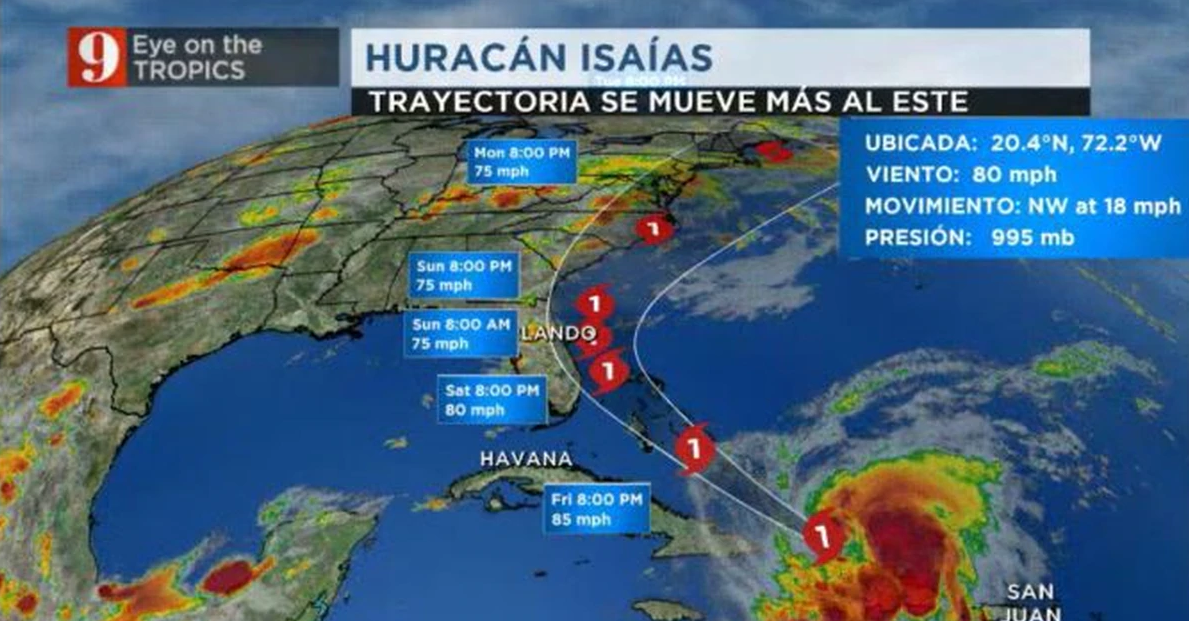 Se convierte en huracán, Isaías (+Infografía)