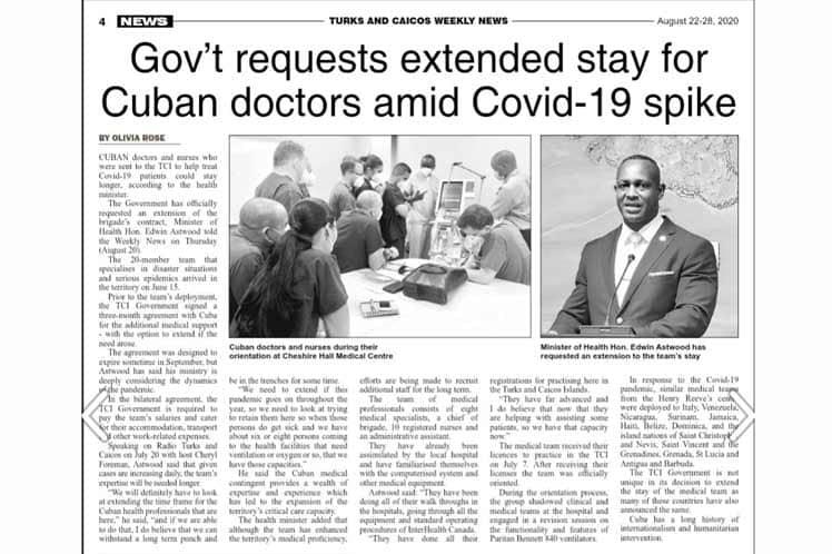 Astwood resaltó además que el contingente médico cubano aporta  conocimientos y experiencia lo cual apoya la capacidad de cuidados críticos del territorio.