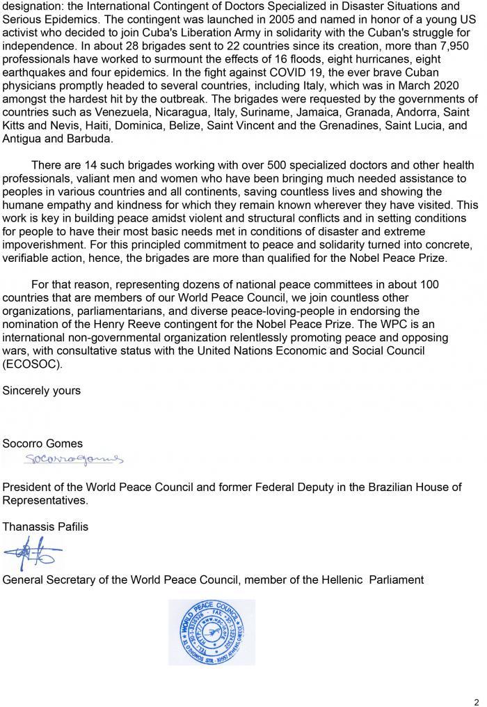 Respalda Consejo Mundial por la Paz entrega de Premio Nobel a brigada médica cubana