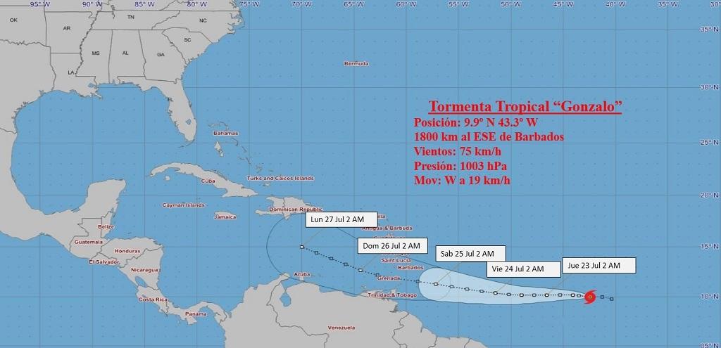 Tormenta tropical Gonzalo continúa ganando en organización e intensidad