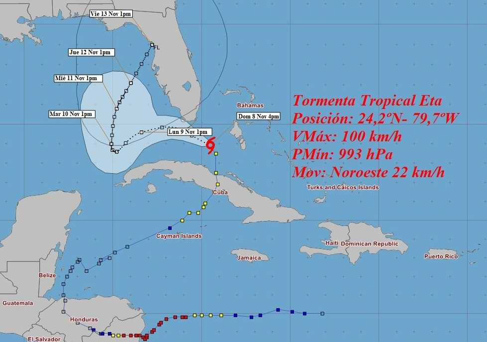 Eta se interna en el estrecho de la Florida