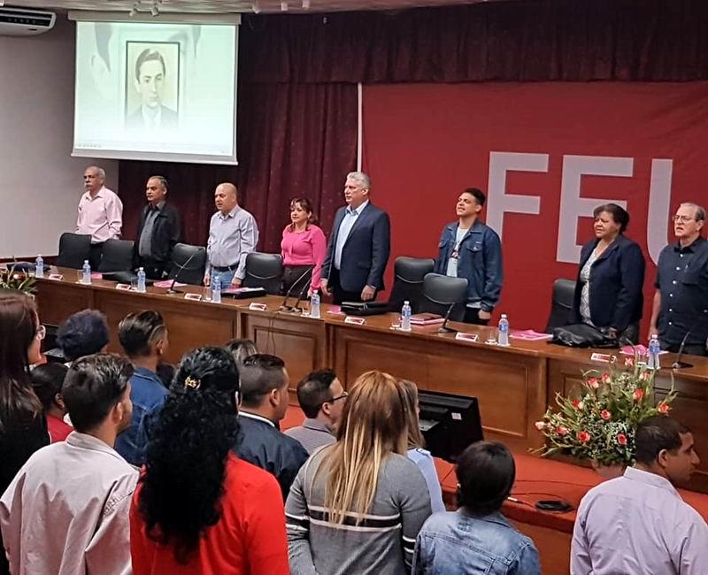 Asiste Díaz-Canel a Consejo Nacional de la FEU