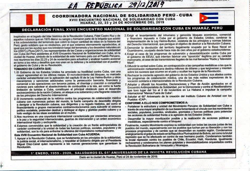 Declaración Encuentro Solidaridad Perú-Cuba noviembre 2019.