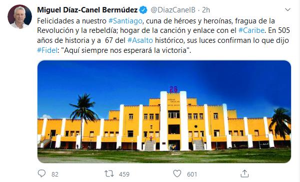 Felicita Díaz-Canel a Santiago de Cuba por su aniversario