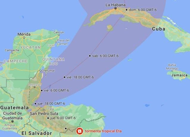 Aviso de alerta temprana  del Estado Mayor Nacional de la Defensa Civil sobre la tormenta tropical Eta
