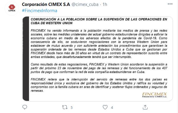 Anuncia Fincimex suspensión de pagos de remesas de la Western Union