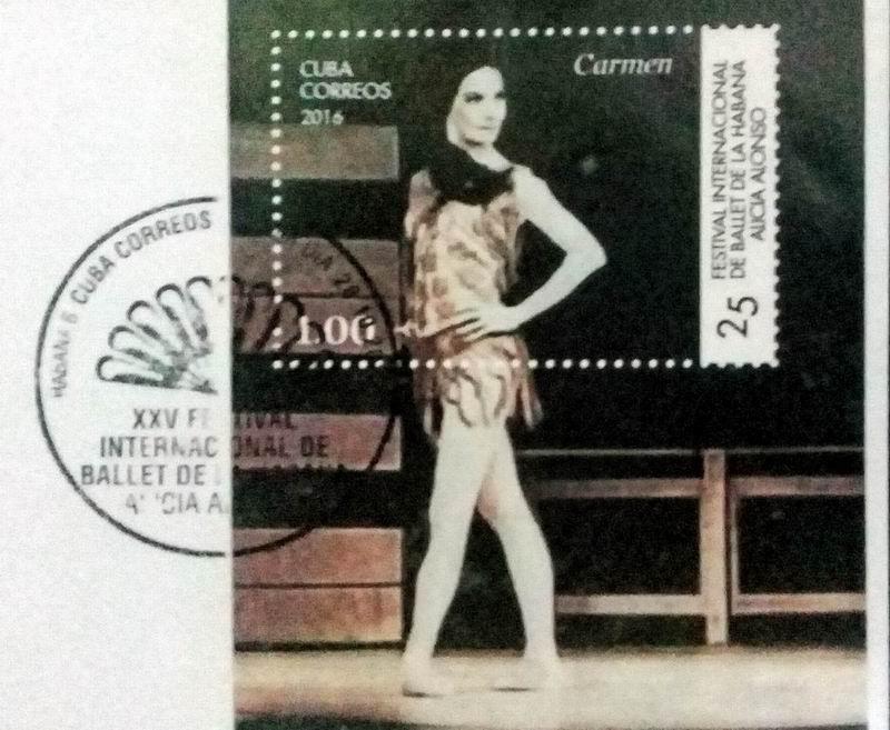 Hoja bloque o suvenir dedicada al 25 Festival Internacional de Ballet de La Habana Alicia Alonso
