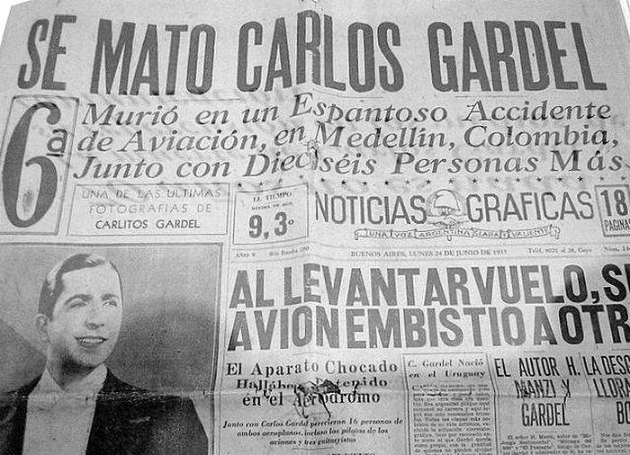 La muerte de Carlos Gardel: una falla técnica y un error del piloto