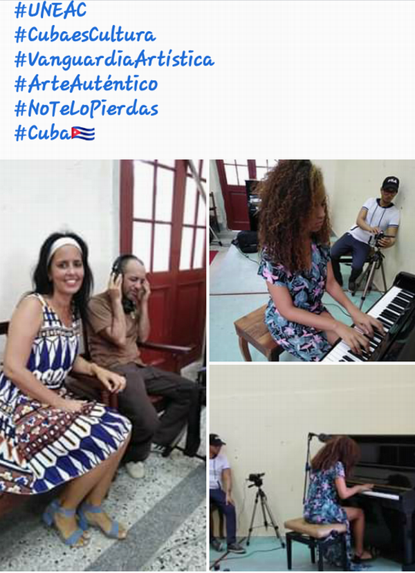 La profesora de la Enseñanza Artística y miembro de la UNEAC, Arais Gómez supervisa la realización de un promocional a Varinia Fortines Zayas, estudiante de cuarto año de piano de la Escuela Nacional de Arte.