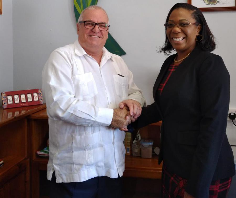 Minister of Dominica receives the Cuban ambassador