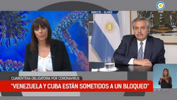 Presidente de Argentina pidió el levantamiento del bloqueo de EEUU a Cuba y Venezuela