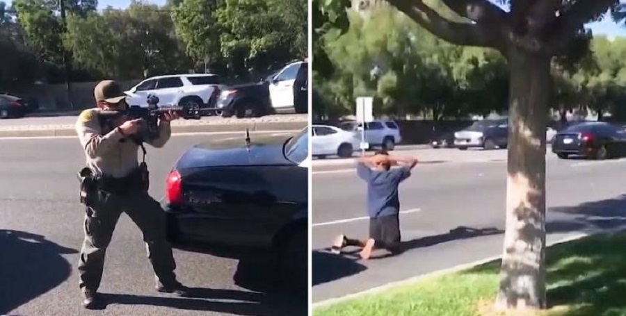 Los Angeles sheriff deputies detain assault victims at gunpoint
