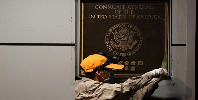U.S. flag lowered as consulate in Chengdu shuts down