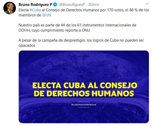 Electa Cuba miembro del Consejo de Derechos Humanos de la ONU