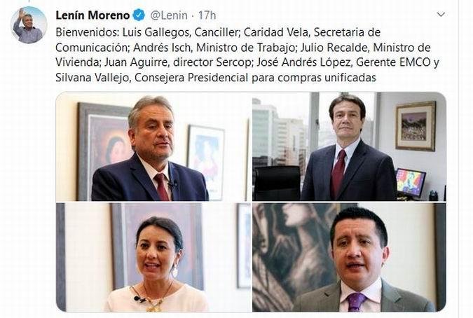 Moreno nombró ayer a tres nuevos ministros