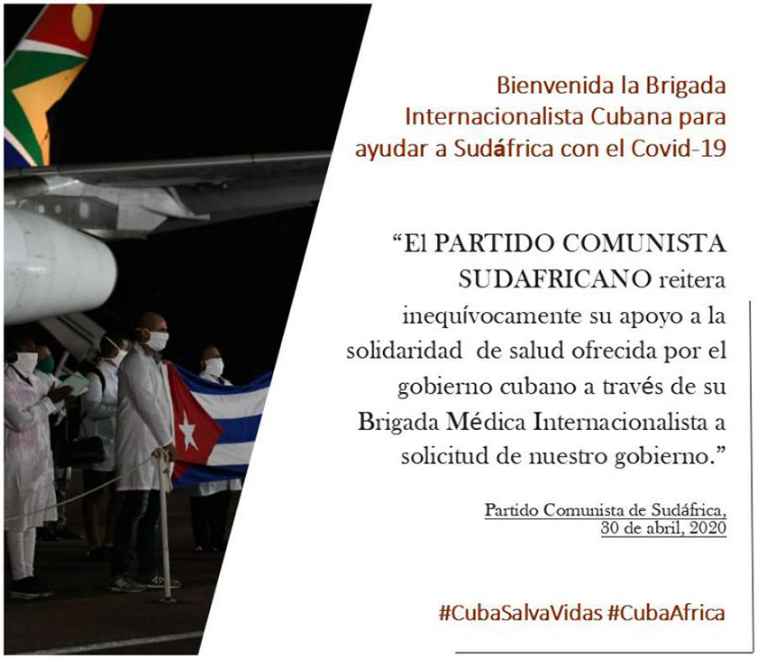 South African communist party reaffirms its support for medical assistance offered by Cuba