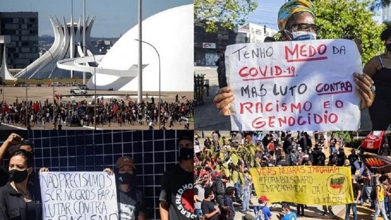 Juventud brasileña protesta en defensa de la democracia, contra el fascismo y el racismo