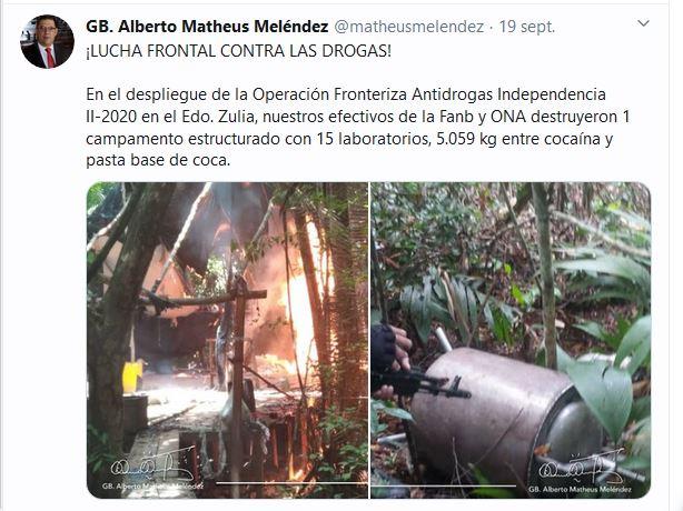 Alberto Matheus Meléndez informó durante las últimas horas que fueron destruidos en el estado Zulia, a escasos metros de Colombia, un campamento estructurado con 15 laboratorios para el procesamiento de clorhidrato de cocaína, durante el despliegue de la Operación Fronteriza Antidrogas Independencia II-2020.