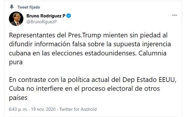 El canciller cubano, Bruno Rodríguez, desmintió la supuesta injerencia de su país en las pasadas elecciones estadounidense
