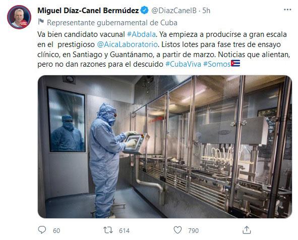 Destaca Díaz-Canel avances de Abdala, candidato vacunal cubano anti-COVID-19