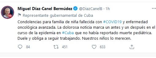 Lamenta Díaz-Canel muerte de niña cubana con COVID-19