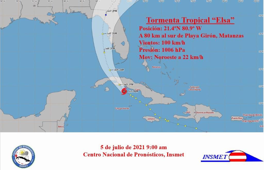 Aviso de Ciclón Tropical No. 22: Elsa se aproxima a la costa sur de Matanzas