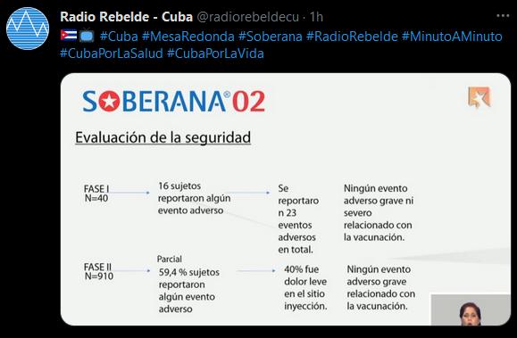 Consideran el avance de Soberana 02 como hito de la biotecnología cubana