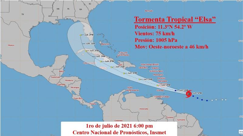 Aviso de Ciclón Tropical No. 3: Elsa continúa aproximándose a las Antillas Menores
