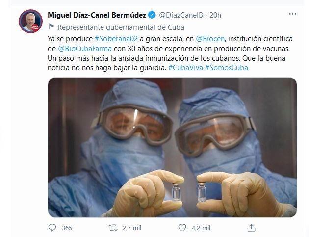 Resalta Díaz-Canel avances en la producción del candidato vacunal Soberana 02