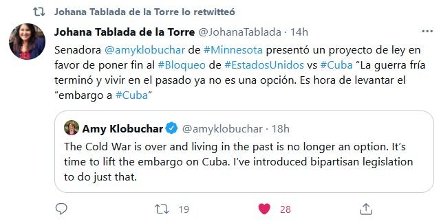 Presenta senadora estadounidense proyecto de ley para levantar bloqueo a Cuba