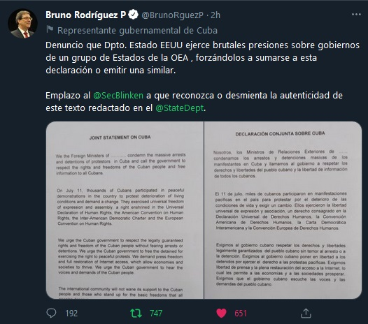 Denuncia Rodríguez Parrilla presiones de EE. UU. contra Cuba en terceros países