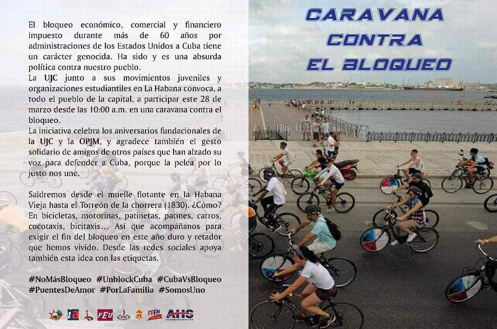 Juventud cubana en Caravana contra el bloqueo